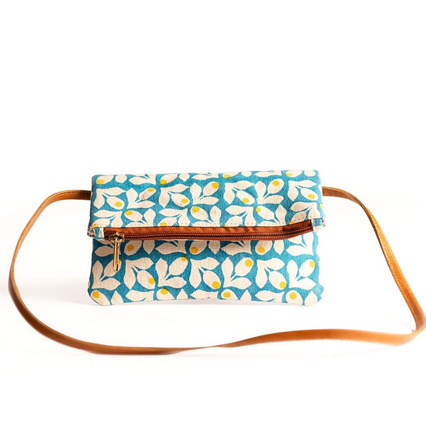 Hip Bag - Blue Print with Yellow Berries frontview