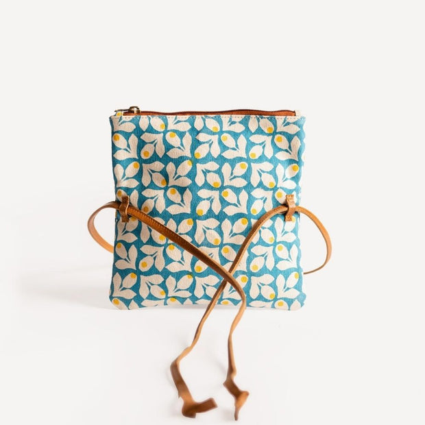 Hip Bag - Blue Print with Yellow Berries open