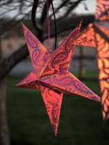 22-inch Recycled Paper Star Lantern - Hot Tamale