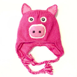 Kids Hand-knit Piggy Hat