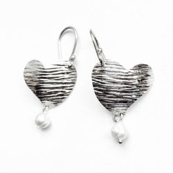 Handmade and Fair Trade Sterling Silver Textura Heart Earrings