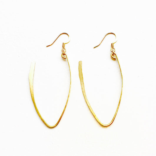 Hammered Gold Plated Brass Open Loop Earrings