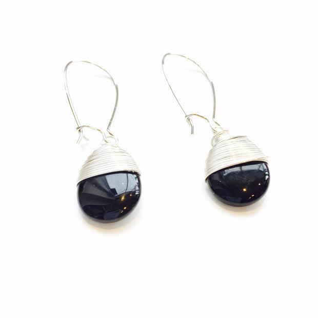 Handmade Tangled Teardrop Black Onyx Earrings