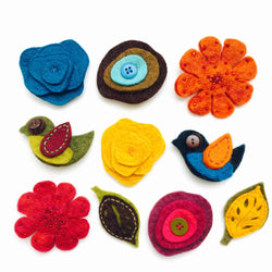 Assorted Handmade Felted Brooch Pins