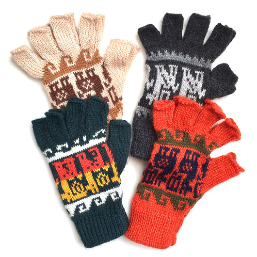 Alpaca Blend Fingerless Gloves with Llama Designs