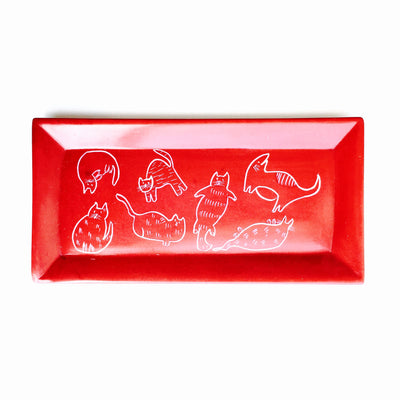 Rectangle Soapstone Dish with Cats