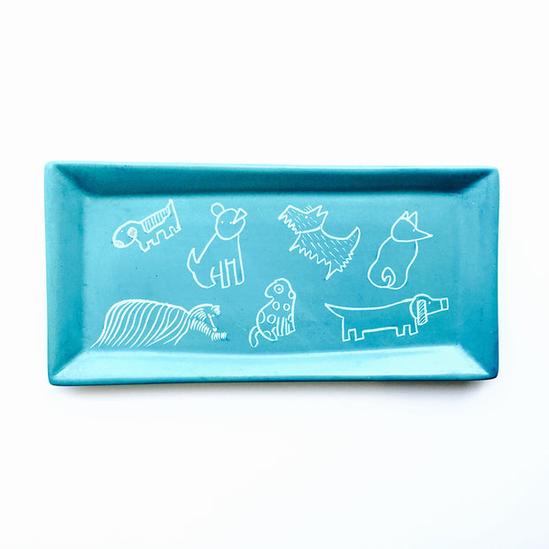 Rectangle Soapstone Dish with Dogs