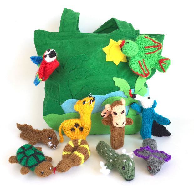 Set of ten rain forest animal finger puppets perfect of kids