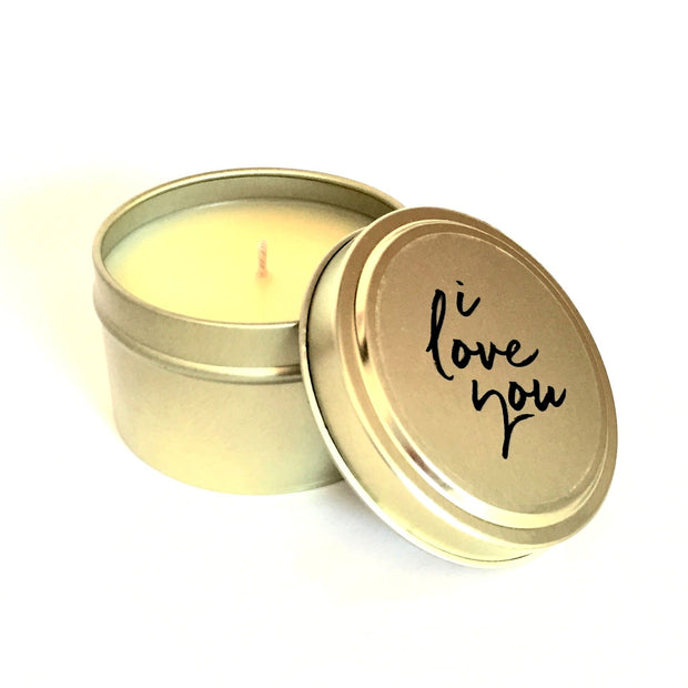 I Love You Travel Gold Tin Candle 4oz
