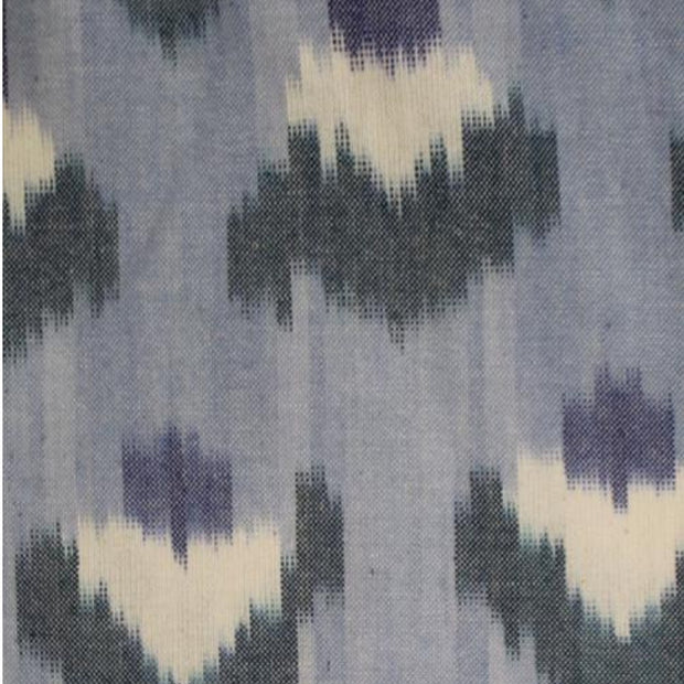 Ikat Light Blue Flowers Shift Dress fabric detail