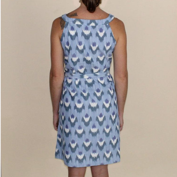 Ikat Light Blue Flowers Shift Dress backview