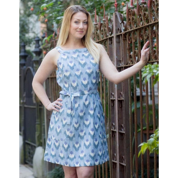 Ikat Light Blue Flowers Shift Dress model