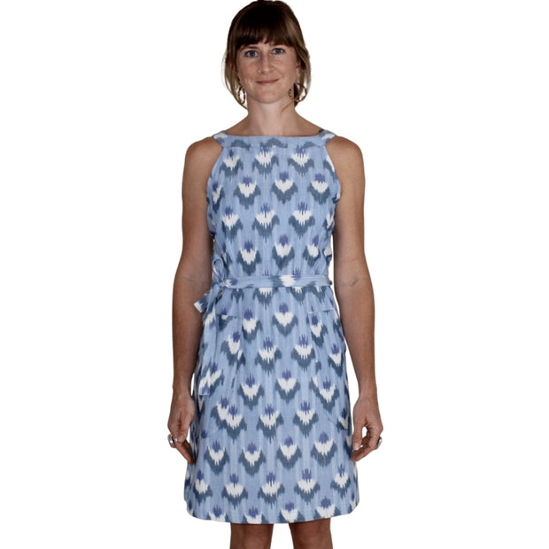Ikat Light Blue Flowers Shift Dress