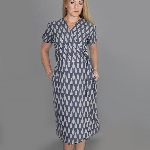 Ikat Graycie Wrap Dress frontview