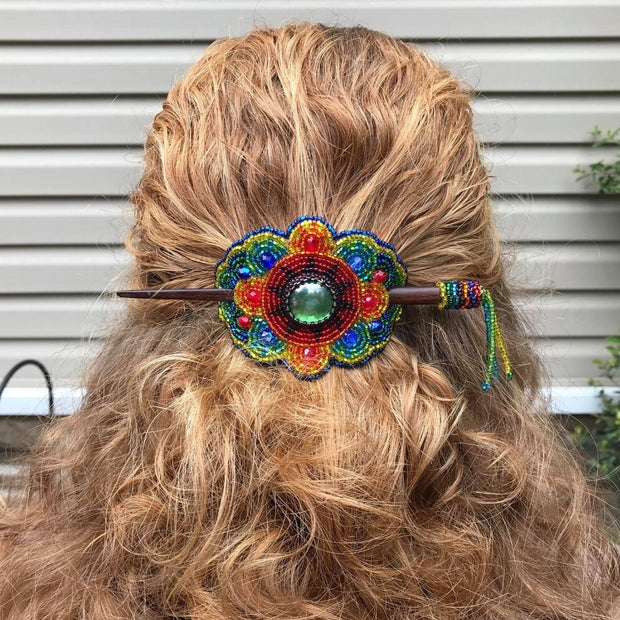 Handmade Beaded Stick Barrette lifestyle