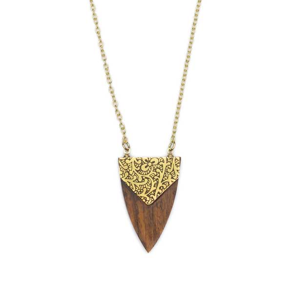 Durga Arrowhead Wood and Brass Necklace