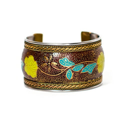 Bollywood Floral Citrus Brass and Enamel Cuff