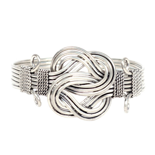 Buddha Knot Silverplated Brass Cuff