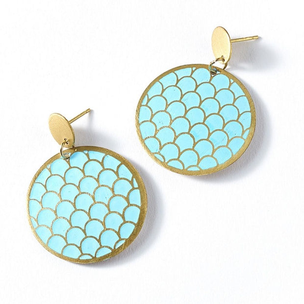 Dhavala Earrings - Teal Coin Disc