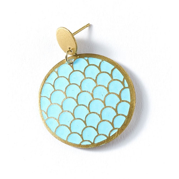 Dhavala Earrings - Teal Coin Disc detail