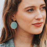 Dhavala Earrings - Teal Coin Disc model
