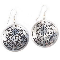 Circular Tree of Life Silvertone Brass Earrings