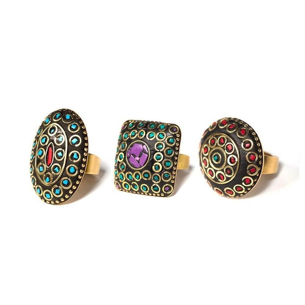 Nandini Brass Rings side view- assorted