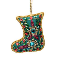 Embellished Green Stocking Ornament