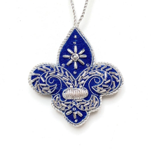 EXCLUSIVE Fleur de Lis Plush Blue and Silver Embellishment Ornament