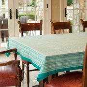 70x108 Block Printed Cotton Tablecloth - Jaipur Aqua