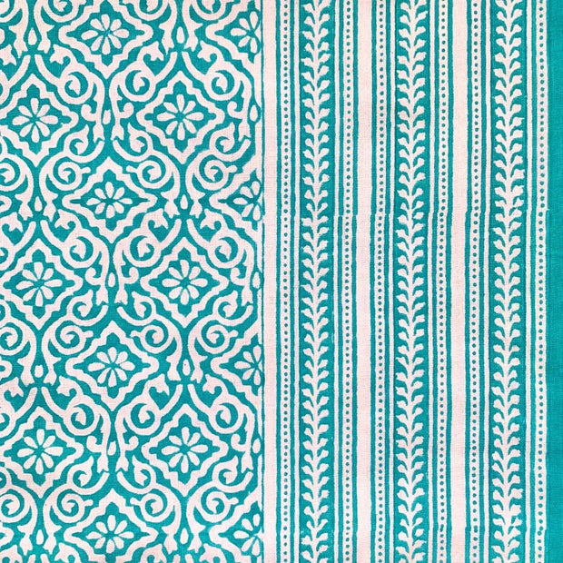 70x108 Block Printed Cotton Tablecloth - Jaipur Aqua detail
