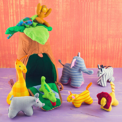 Magical Tree Playhouse Set with Jungle Animals