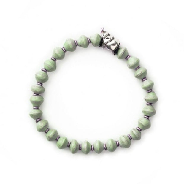Meadow Green Stretch Paper Bead Bracelet - Elephant
