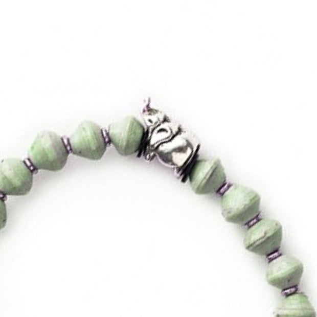 Meadow Green Stretch Paper Bead Bracelet - Elephant detail