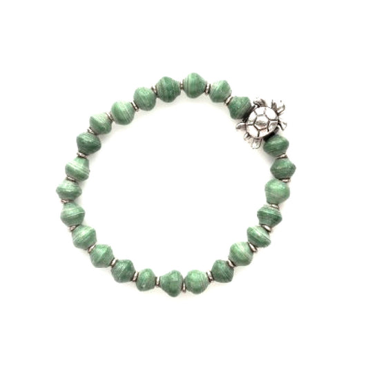 Meadow Green Turtle Recycled Paper Bracelet