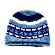 Wool Rolled Knit Stocking Hat blue