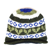 Wool Rolled Knit Stocking Hat green