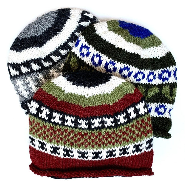 Wool Rolled Knit Stocking Hat Group