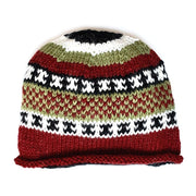 Wool Rolled Knit Stocking Hat red