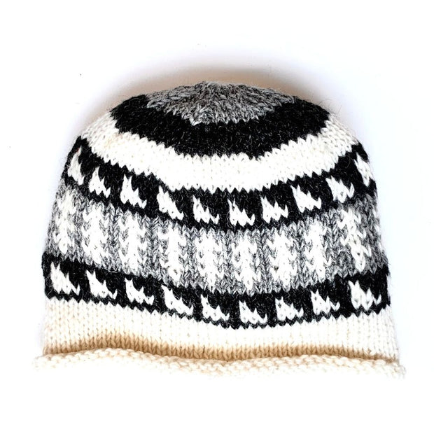 Wool Rolled Knit Stocking Hat off white