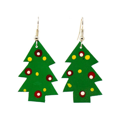 Hand-Painted Tin Christmas Tree Earrings