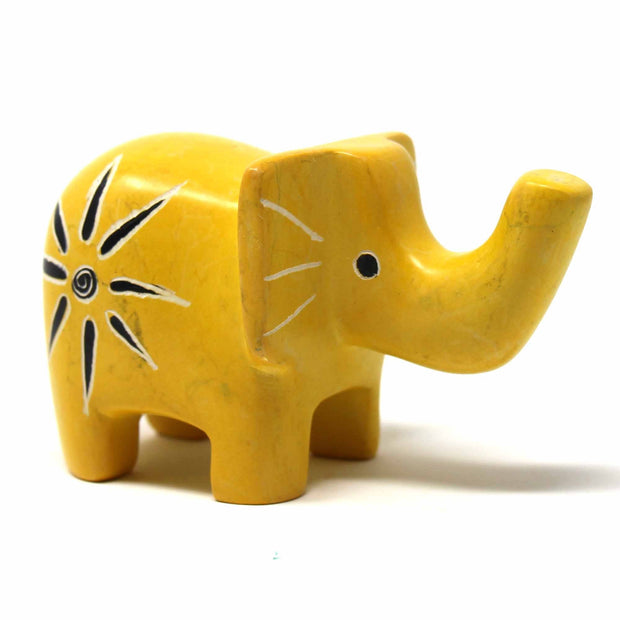 3-inch Soapstone Elephant Sculpture Yellow