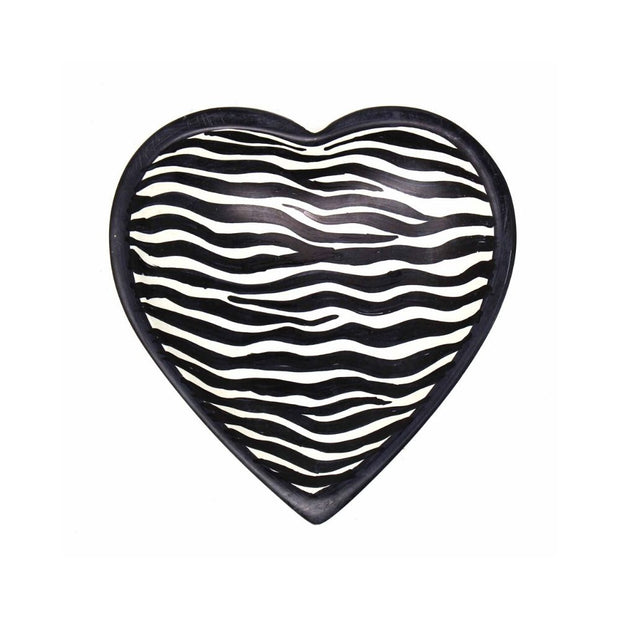 5-inch Soapstone Heart Shaped Dish Bowl - Zebra