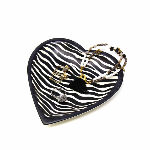 5-inch Soapstone Heart Shaped Dish Bowl - Zebra lifestyle