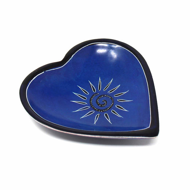 Hand-carved Soapstone Heart Shaped Bowl 5 inches-dark blue