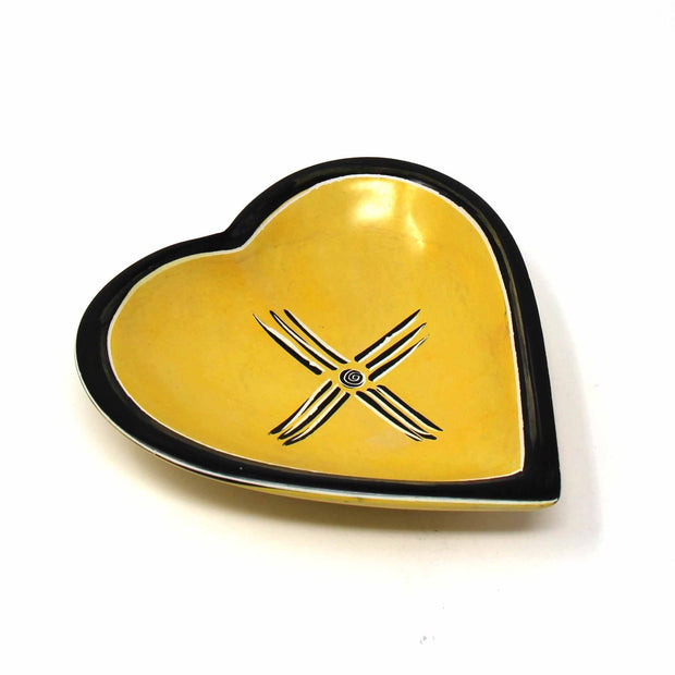 Hand-carved Soapstone Heart Shaped Bowl 5 inches yellow