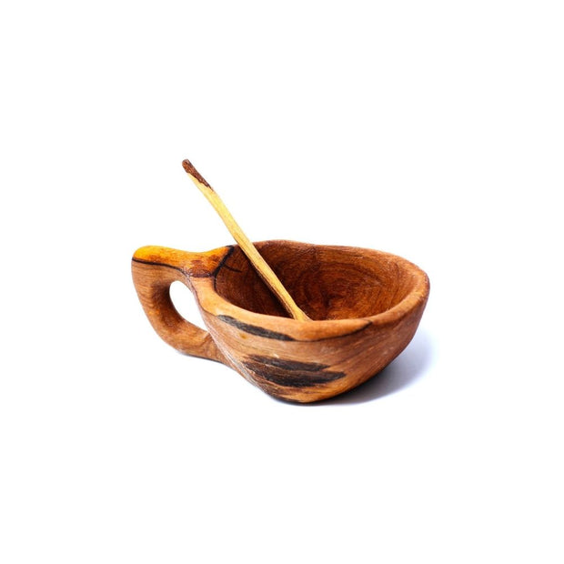 Reclaimed Olive Wood Salt Pot with Spoon