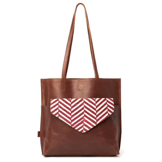 Kamala Leather Tote with Bordeaux Herringbone Print Clutch exterior