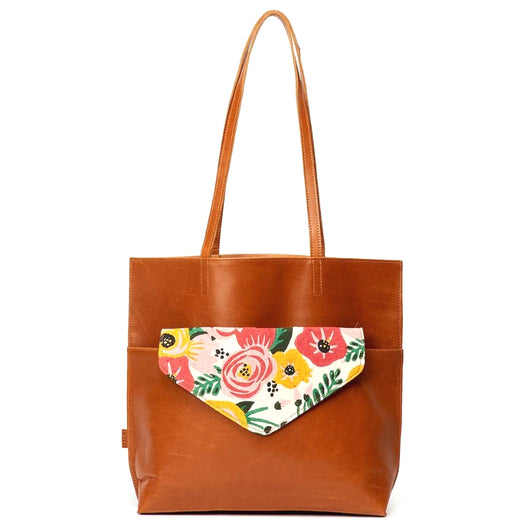 Kamala Camel Leather Tote with Floral Print Clutch exterior view