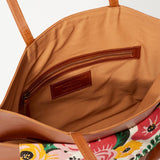 Kamala Camel Leather Tote with Floral Print Clutch interior view